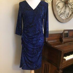 Jennifer Lopez Size XL Blue & Black Fitted Dress